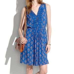 Madewell Pleated Silk Floral Dress in Woodcut